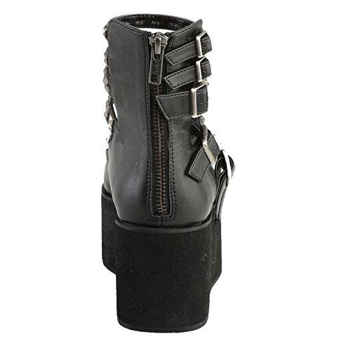 Demonia - Defining Alternative Footware Plateau Sandalen Demonia Schwarz, veganes Leder GRIP-31