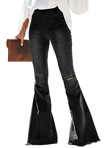 (Sunny Women Ripped Flare Jeans Mid Rise Fitted Denim Pants)