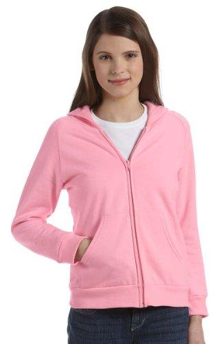 [Bella Girl's 7.5 oz. Full-Zip Hoodie 9007 pink Large] (Bella Girl Raglan Full Zip)