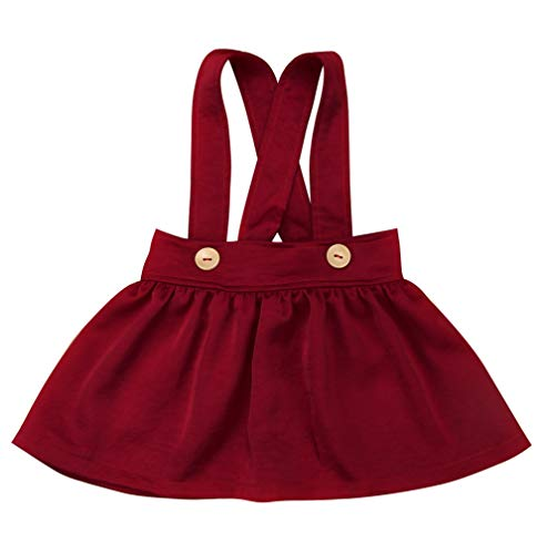Baby Girls Velvet Suspender Skirt Infant Toddler Ruffled Casual Strap Sundress Summer Outfit Clothes (12-18M, Red)