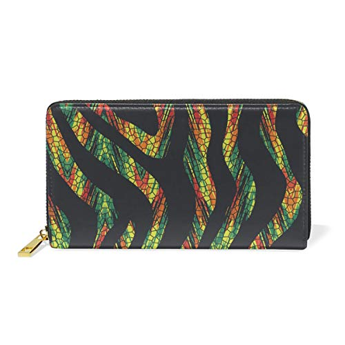 Clutch Tiger (Snake Tiger Wallet Real Leather Zipper Coin Phone Purse Clutch for Women)