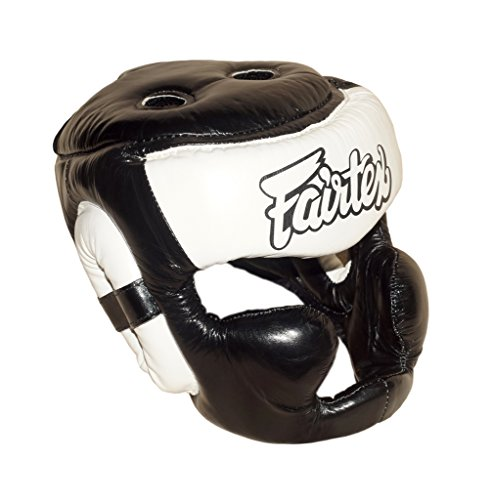 Fairtex HG-13 Full Coverage Headguard HeadGear Helmet Boxing Head Guard Thai Boxing K-1 MMA Head Gear Guard Protective Muay Thai (Black White, Medium)