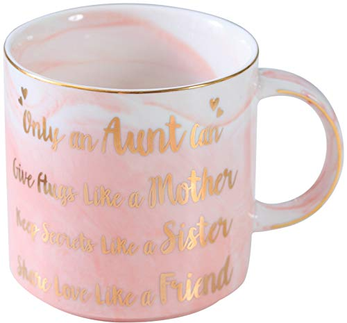 Aunt Gifts - Only an Aunt Can Give Hugs Like A Mother Keep Secrets Like A Sister Share Love Like A Friend Ceramic Marble Mug - Best Aunt Ever Gifts - Pink Ceramic Marble Mug 13 oz ()
