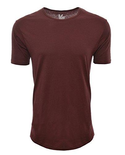 YoungLA Long Workout Shirts For Men Basic Elongated Drop Tail Hipster T-Shirts Burgundy (Drop Them Mens T-shirt)