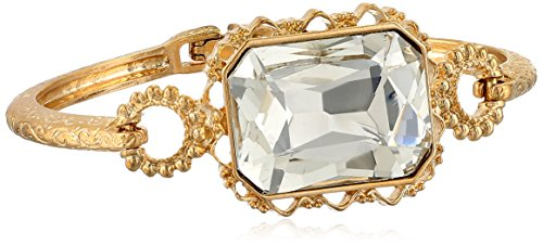 1928 Jewelry Gold-Tone Crystal Faceted Rectangle Clasp Bangle Bracelet, 2.5