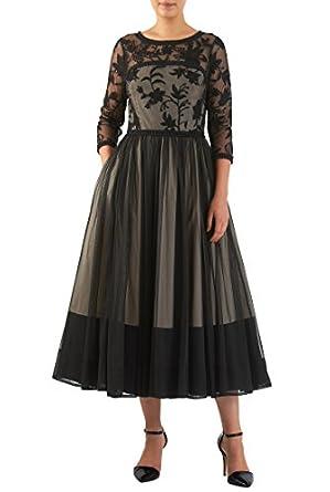 Vintage Inspired Cocktail Dresses, Party Dresses Floral embroidered tulle lace trim dress $85.95 AT vintagedancer.com
