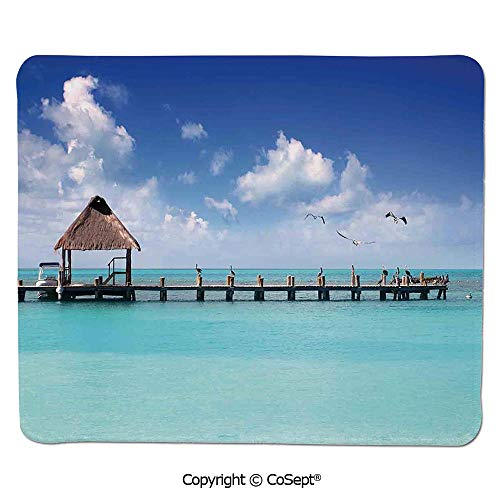Premium-Textured Mouse pad,Seascape Clouds Sky with Birds Wooden Dock Lonely Bungalow Tropical Picture,for Laptop,Computer & PC (7.87