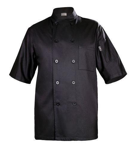 Chef Works BLSS Chambery Short Sleeve Basic Chef Coat, Black, 2X-Large