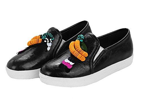 Allhqfashion Womens Pull-on Ronde-teen Lage Hakken Pu Stevige Pumps-schoenen Zwart
