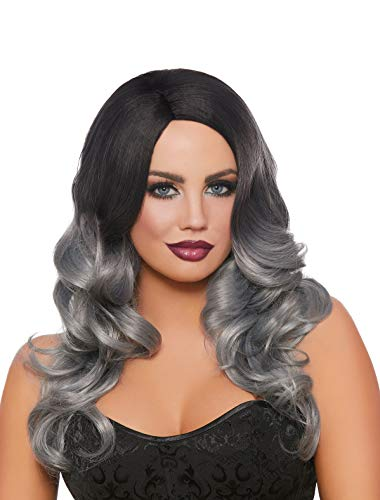 (Dreamgirl Women's Long Wavy Black/Gray Ombré Wig, One Size)