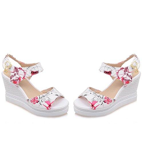 Boucle Rose Talon TAOFFEN Classique Floral Femme Sandales Platform Haut Compensee Slingback UxT10q