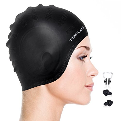 Toplu Swim Cap, Lightweight Silicone Solid Swimming Caps with 5D Ergonomic Design Ear Pockets for All Ages and All Hair Lengths, Great Elasticity and No Deformation (3D-Black)
