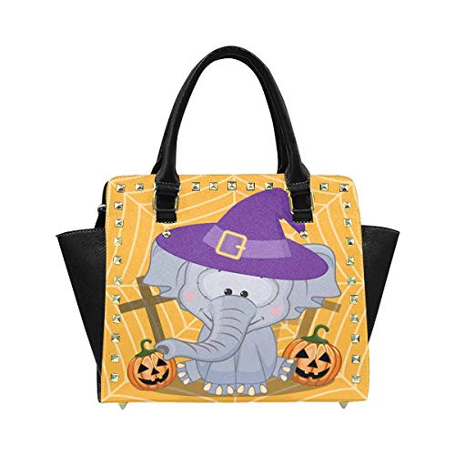 InterestPrint Halloween Cartoon Elephant Pumpkin Hobo Handbags Tote Purse for Women Fashion -