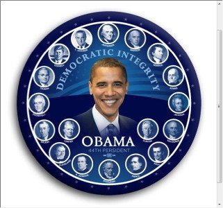 Obama Democratic Integrity 44th President Photo Pin 3""