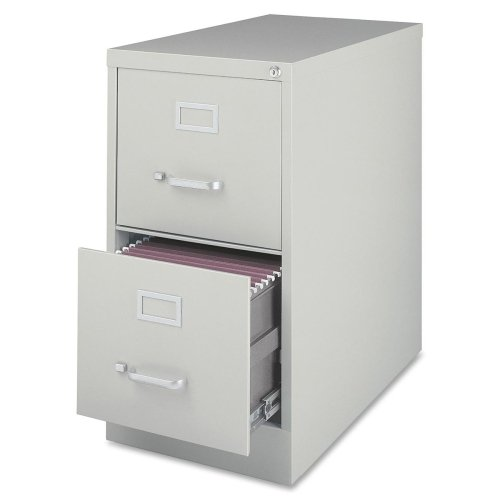 Lorell Vertical Fle - 15quot; x 26.5quot; x 28.4quot; - Steel - 2 x File Drawer(s) - Letter - Security Lock, Ball-bearing Suspension, Heavy Duty - Light Gray
