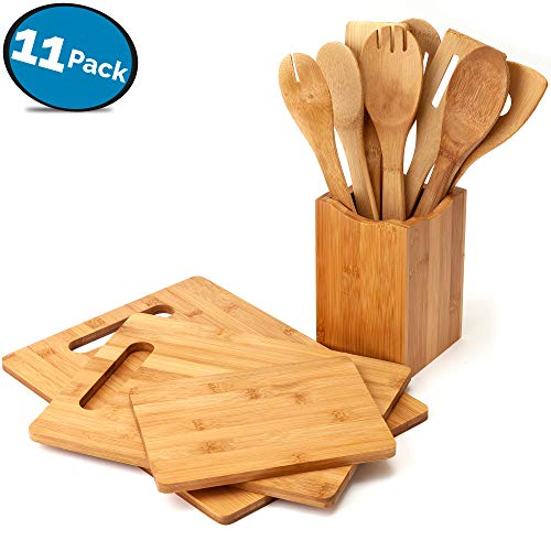 (11-Piece Bamboo Kitchen Utensil Set - Includes 3 Wood Cutting Boards and Wooden Spoons - by LVKH)