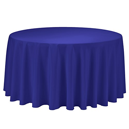 Restaurant Covers Table (VEEYOO Round Tablecloth 108 inch - Solid Polyester Circular Table Cover for Wedding Party Baby Shower Restaurant Kitchen Dinner, Royal Blue Table Cloth)