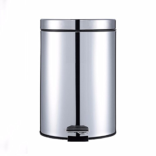 HQLCX Rubbish Bin Kitchen Living Room Creative Treadle With Round Fashion Trash Can,Mirror Light by HQLCX-Rubbish Bin