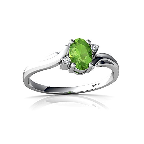 14kt White Gold Peridot and Diamond 6x4mm Oval Swirls Ring - Size 5.5 - White Gold Oval Swirl