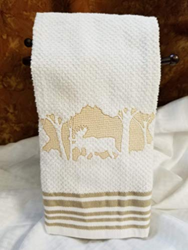 Embroidered Terry Kitchen Towel - Embossed Woodland Collection - The Moose