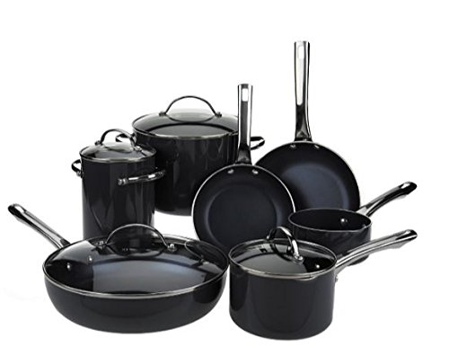 Cook's Essentials 12pc Porcelain Enamel Cookware Set (Black)