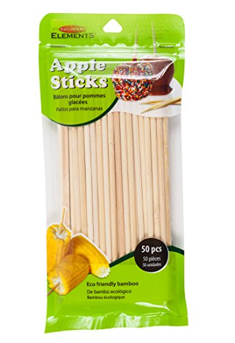 Culinary Elements Bamboo Candy and Caramel Apple Sticks for 50 Individual Servings, -