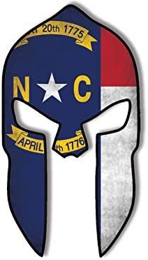 American Vinyl Casco Espartano en Forma de Etiqueta engomada de la Bandera Apenada de Carolina del Norte: Amazon.es: Coche y moto