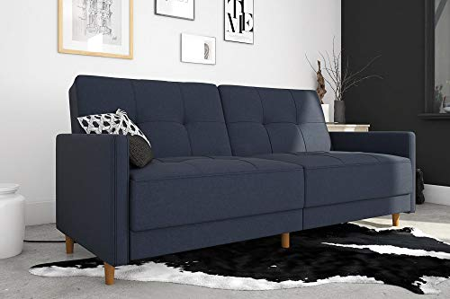 DHP Andora Coil Futon Sofa Bed Couch with Mid Century Modern Design - Navy Blue Linen - Mid-Century Modern design with tufted seat and back cushions and wooden legs. Seat is made with independently encased coils providing additional comfort. Includes center legs for additional support. - sofas-couches, living-room-furniture, living-room - 417toNlnfwL -
