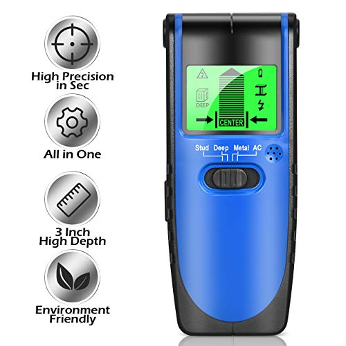 Upgrade Stud Finder Wall Scanner – All in One Electronic Studs Wood Live AC Wires Metal Detector Sensor with Advanced Chip, High Precision Center Finding, Depth High Up to 60mm, HD LCD Monitor Display