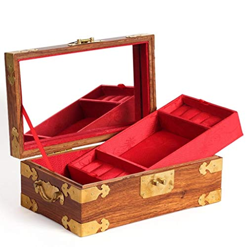 Redwood Rosewood Double-Layer Wooden Antique Jewelry Small Jewelry Box Wedding Gift Double-Layer Forged Surface with Lock with Mirror with Copper Lock Storage Jewelry Box ()