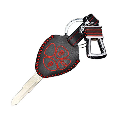Genuine Leather fob Key Cover for Toyota Accessories Keychain fit Corolla Camry Reiz Highlander Prado Crown Land Cruiser Prius Vitz Key Chain case Holder Shell Bag (Old Style 2-4)