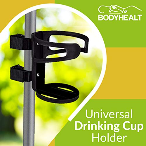 Universal Drinking Cup Holder No Screws Required Adjustable for Any Kind of Strollers, Walkers, Bicycles, Wheelchairs, Bed railings and Even on a Drumset | Drink Walker Cup Holder, Bottle Holder by BodyHealt (Image #1)