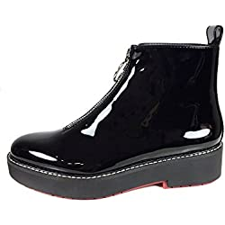 Zara Women Flat faux patent ankle boots with tab 5155/201 (40 EU | 9 US | 7 UK)
