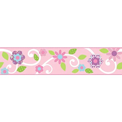RoomMates Scroll Floral Peel and Stick Border - Pink/White