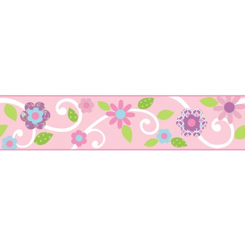 (RoomMates Scroll Floral Peel and Stick Border - Pink/White)