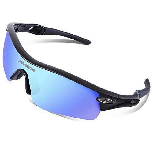 RIVBOS 805 TR 90 Frame Polarized Sports Sunglasses Sun Glasses with 5 Set Interchangeable Lenses for Men Women Cycling Baseball(Upgrate TR90 Black ice - Glass Sun Sports