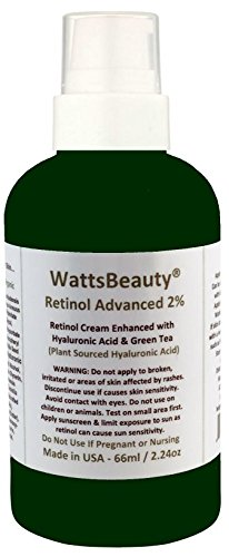 Watts Beauty 2% Retinol Night Cream for Face, Hands and Neck - Enhanced with Anti Wrinkle Plumping Hyaluronic Acid - An Optimized Anti Aging, Moisturizing Cream to Exfoliate, Firm & Renew