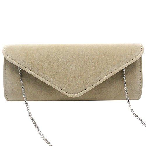 Strap Bag Wocharm apricot Women Clutch Evening Purse Velvet Shoulder Purse Chain Wedding 1A1tqwYn6T