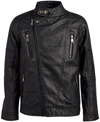 Urban Republic Big Boys' Faux Leather Moto Jacket with Zips 10/12 Black