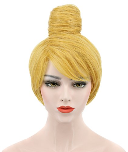Costume Fairy Halloween Rosetta (Karlery Women's Short Wave Bud Ball Head Gold Wigs Anime Party Cosplay Halloween)