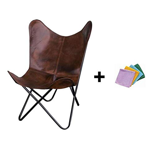Brown Natural Leather Butterfly Chair + Reusable Cloth (Leather Butterfly Chair Sling)