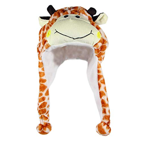 NYKKOLA Plush Faux Fur Animal Critter Hat Cap,Soft Warm Winter Headwear Fun Cute Beanie Hat Polyester Fleece Lining(Giraffe) ()