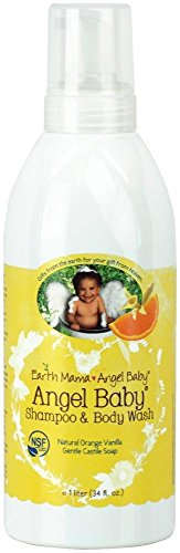 Earth Mama Angel Baby Body Wash & Shampoo Pure Castile Vanilla Orange Soap for Every Body Liter 34oz