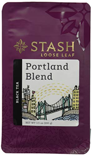 (Stash Tea Portland Blend Loose Leaf Tea, 3.5 Ounce Pouch Loose Leaf Premium Black Tea for Use with Tea Infusers Tea Strainers or Teapots, Drink Hot or Iced, Sweetened or Plain)