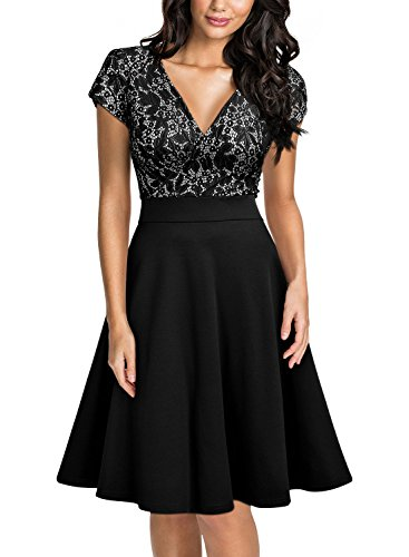 Miusol Women's Deep V-Neck Elegant Floral Lace Contrast Cocktail Party Dress (Large, Black-2)