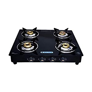 MILTON ISI Certified Premium 4 Burner Glass Top Gas Stove with MS Frame and Brass Burners (Black, 64x58x10cm)