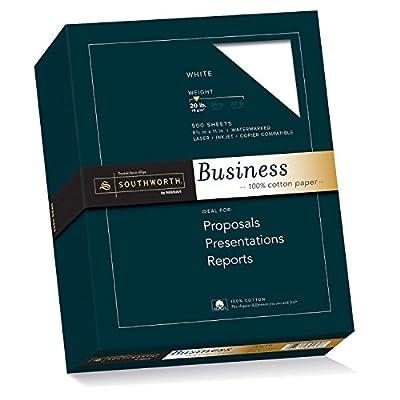 Southworth 13C 100% Cotton Business Paper, 20 lbs., 8-1/2 x 11, White, 500/Box