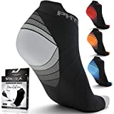 Compression Running Socks Men & Women - Best Low Cut No Show Athletic Socks for Stamina Circulation & Recovery - Durable Ankle Socks for Runners, Plantar Fasciitis & Cycling - 2 PAIRS GRY BLK L/XL