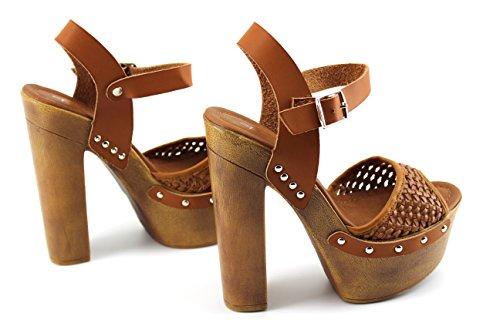 Modelisa - Sandalia Tacon Plataforma Mujer Camel