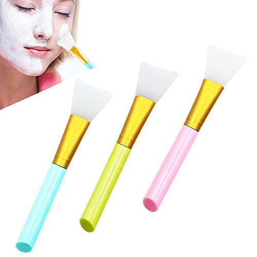 Silicone Face Mask Brush, Adpartner 3pcs Hairless Facial Mask Applicator Brushes Set, Mask Mud Beauty Tools for Cream Facials, Clay Mask, DIY Modeling Mask, Hair-remove Body Lotion, etc.